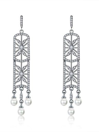Long snowflake zircon window tassel earring