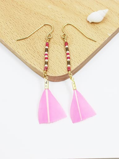 Temperament Geometric Shaped Feather Glass Earrings