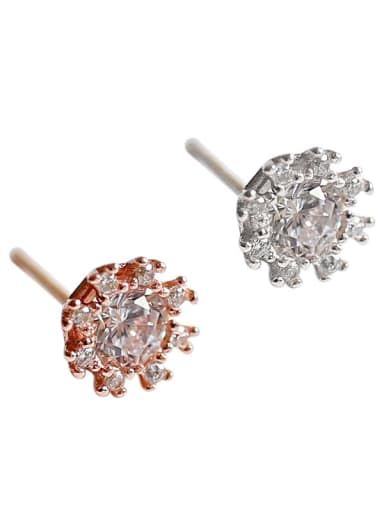 Sterling Silver simple and versatile micro-inlaid zircon flower earrings