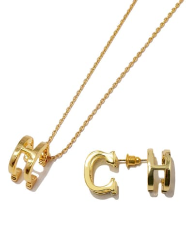 Copper With Gold Plated Personality CH Multifaceted Stereo letter  2 Piece Jewelry Set