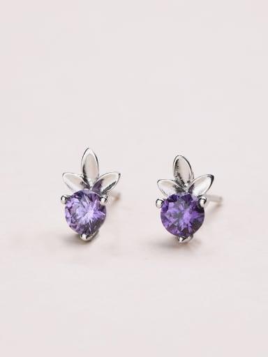 Purple Zircon Clover Stud Earrings
