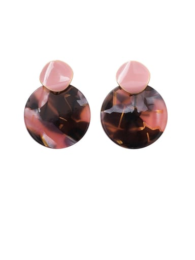 Alloy With Rose Gold Plated Simplistic Geometric  Glass Stone Drop Earrings