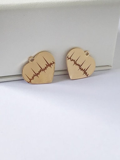 Stainless Steel With Gold Plated Classic Heart Charms