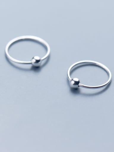 925 Sterling Silver With Platinum Plated Simplistic Ball Stud Earrings