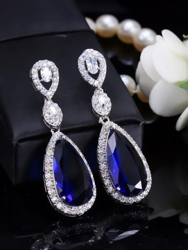 Water Drop Luxury Long Copper Western Style Drop Earrings