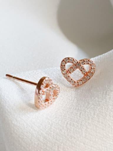 Fashion Hollow Heart Cubic Zirconias Silver Stud Earrings