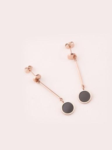 Black Agate Rose Gold Plated Drop Earrings