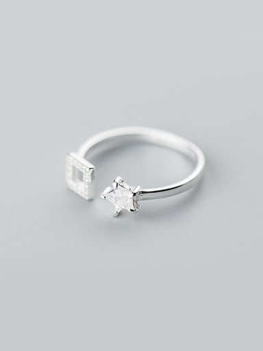 Exquisite Star Shaped S925 Silver Open Design Rhinestone Ring