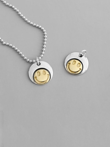 925 Sterling Silver With Platinum Plated Cute Geometric Smiley face  Necklaces