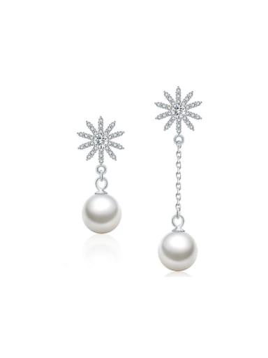 Temperament  Snowflake Pearl Asymmetry Drop Earrings