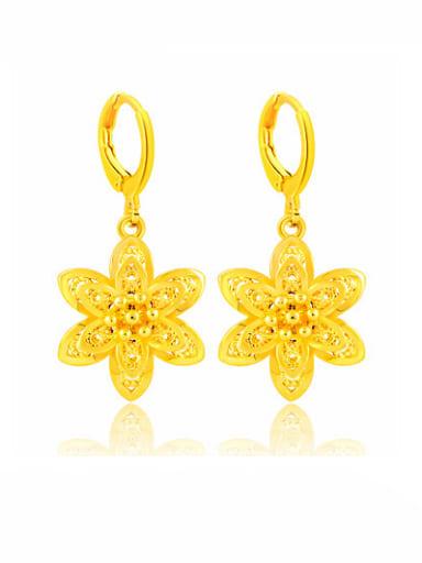Vintage 24K Gold Plated Flower Shaped Copper Drop Earrings