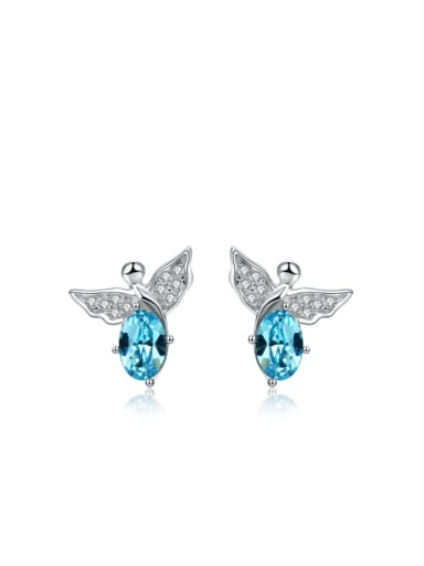 Lovely Small Angel Crystal Stud Earrings