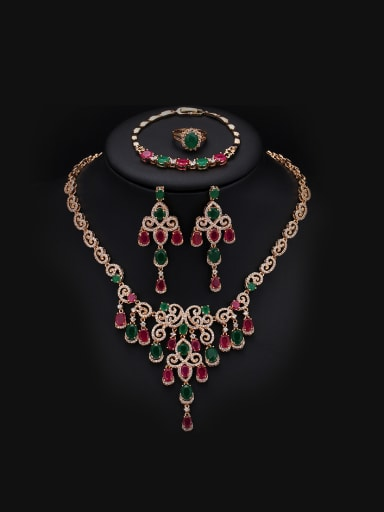 Exaggerate Colorful Stones Two Pieces Jewelry Set