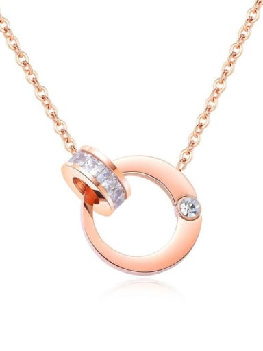 Stainless Steel With Rose Gold Plated Fashion Round Necklaces
