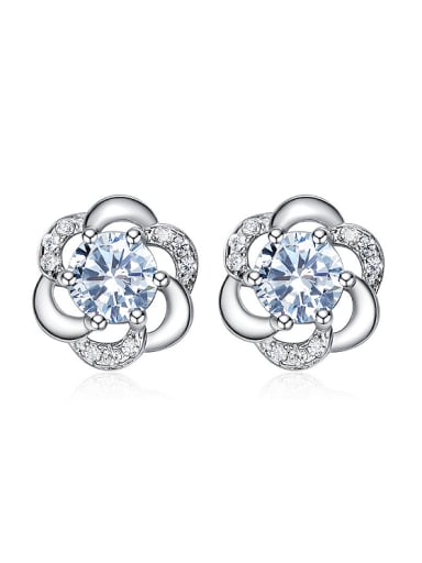 Tiny Fashion Flower Cubic Zirconias 925 Silver Stud Earrings