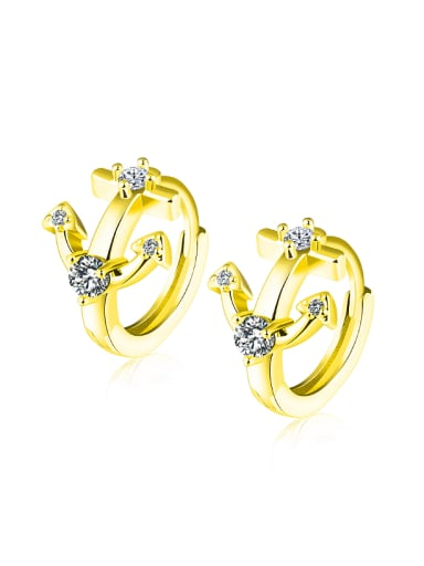 Fashion Little Anchor Zircon Gold Plated Earrings
