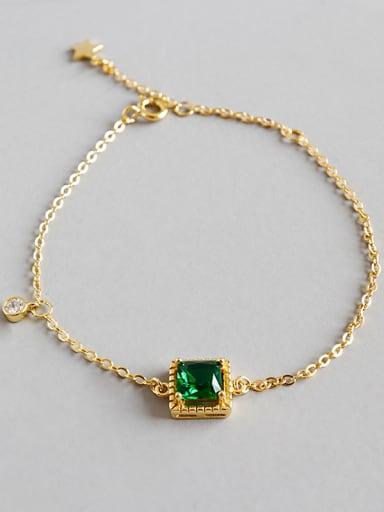 Sterling Silver Handmade geometric square emerald zircons Bracelet