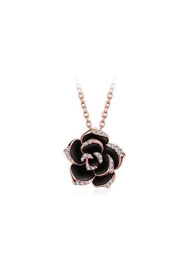 Elegant Rosary Shaped Austria Crystal Enamel Necklace