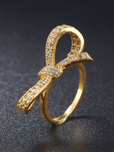 Personalized Bowknot Cubic Zircon Ring