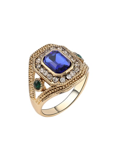 Exaggerated Crystals Gold Plated Alloy Ring