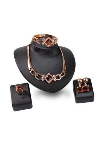 Alloy Imitation-gold Plated Vintage style Square shaped Artificial Stones Four Pieces Jewelry Set