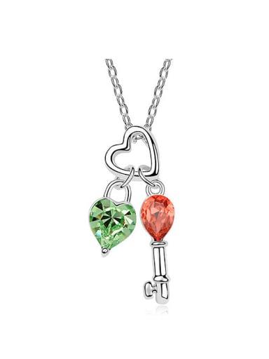 Fashion Little Heart Key Swarovski Crystals Pendant Necklace