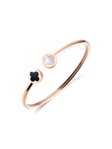 Fashion Four-leaf Clovers Rose Gold Plated Opening Bangle