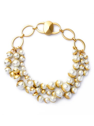 Multilayer Artificial Pearls Short Alloy Necklace
