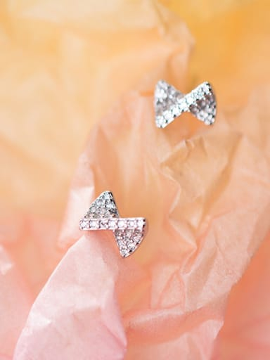925 Sterling Silver With Cubic Zirconia Simplistic Bowknot Stud Earrings