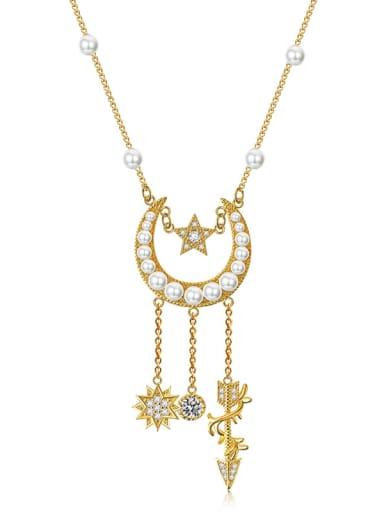 Retro stars moon imitation pearl tassels complex necklace