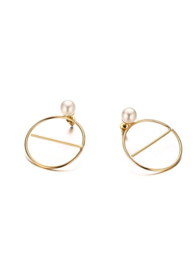 Temperament Gold Plated Artificial Pearl Stud Earrings
