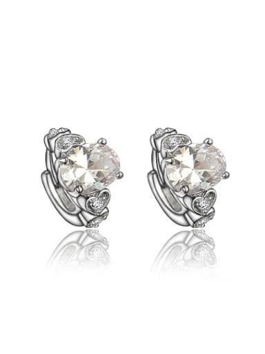 Shining Platinum Plated White Zircon Clip Earrings