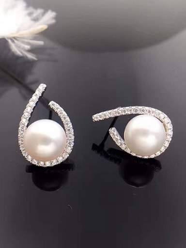 Freshwater Pearl Water Drop shaped stud Earring