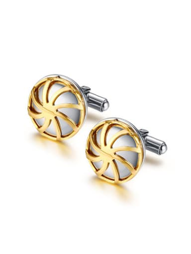 Delicate Gold Plated Windmill Shaped Stainless Steel Cufflinks