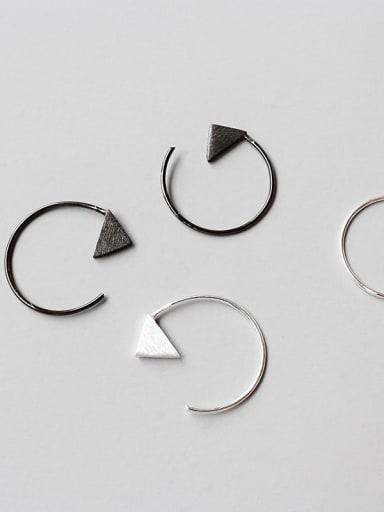 Sterling Silver Geometric Triangle Minimalist Brushed Earrings