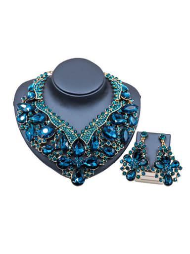 Water Drop Glass and Rhinestones Exaggerated Two Pieces Jewelry Set