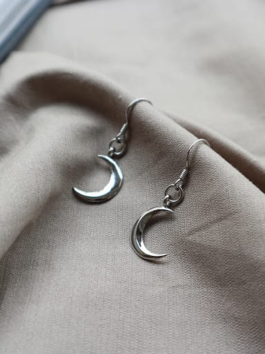 Sterling Silver Fashion moon ear Earrings