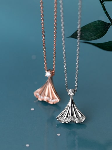 925 Sterling Silver With Cubic Zirconia Cute Fish Tail Necklaces