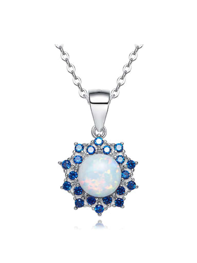 Fashion Opal stone Cubic Zirconias 925 Silver Flowery Pendant