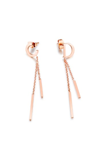 Simple Letter C D Tassels Rose Gold Plated Drop Earrings