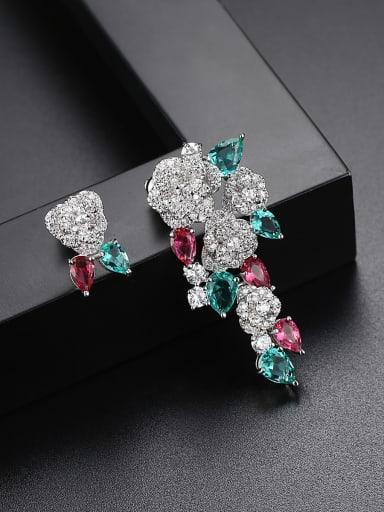 Copper inlaid AAA zircon asymmetrical Flower Earrings