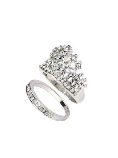 Fashion Crown Rhinestones Alloy Ring Set