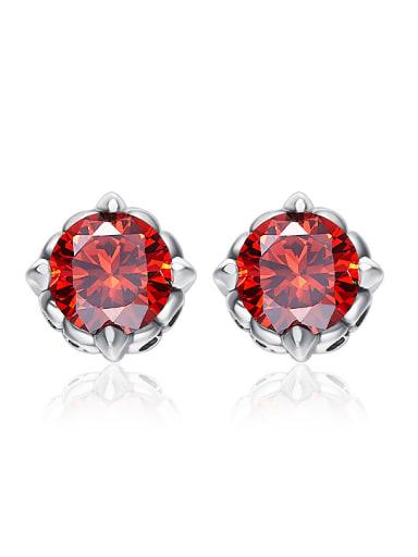 Simple Red Cubic Zircon 925 Silver Stud Earrings
