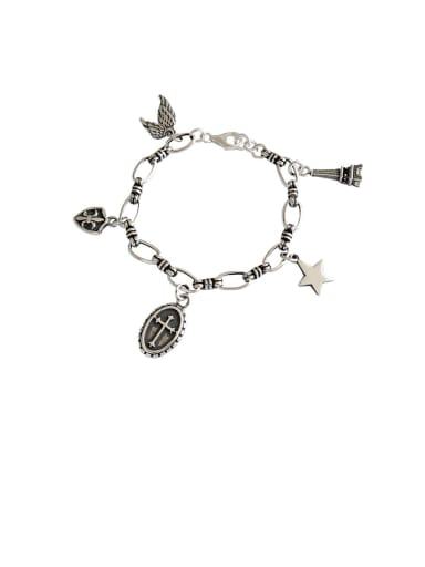 925 Sterling Silver With Antique Silver Plated Vintage Cross Bracelets