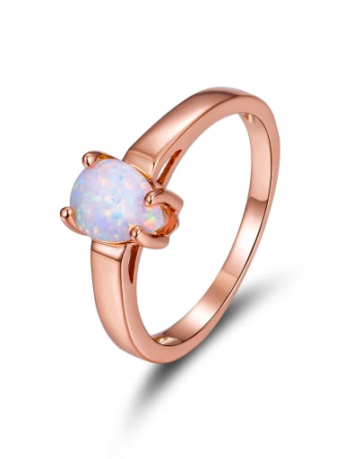 Rose Gold Plated Opal Simple Style Ring