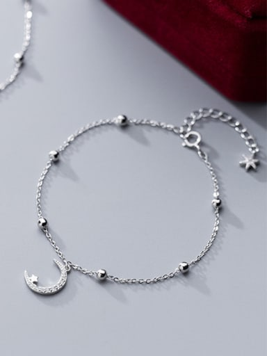 925 Sterling Silver With Platinum Plated Delicate Moon ball Anklets