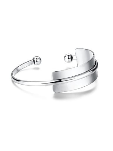 Personality White Gold Plated Double Layer Bangle