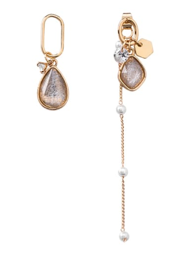 Alloy With Imitation Gold Plated Trendy Water Drop  Asymmetry Tassel Earrings