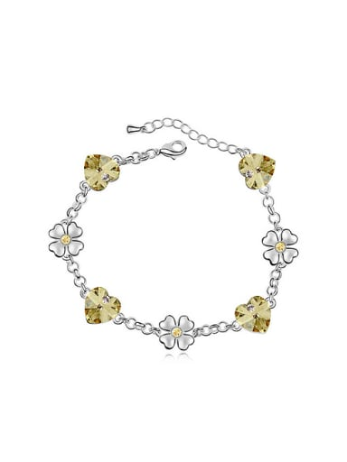 Fashion Heart Swarovski Crystals Flowers Alloy Bracelet