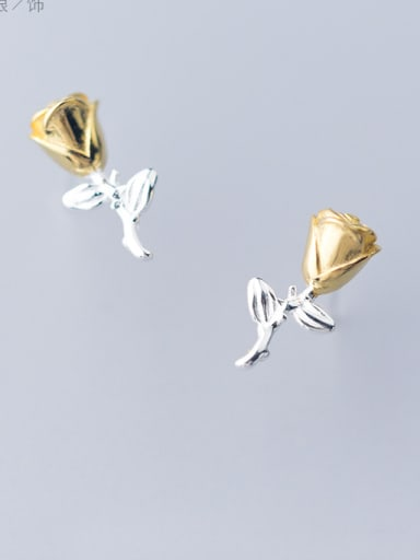 925 Sterling Silver With Silver Plated Classic Rose Stud Earrings for mom and lover